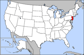 Map of the U.S. with New Jersey highlighted