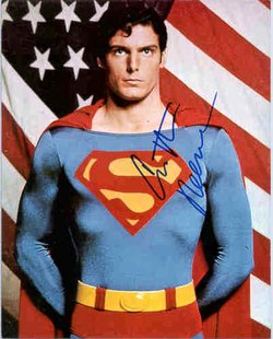 "A signed photo of , perhaps autographed by an  machine, as the ""Man of Steel, ""."