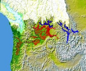 Glacial Lake Columbia (west) and Glacial Lake Missoula (east) are shown south of Cordilleran Ice Sheet. The areas inundated in the Columbia and Missoula floods are shown in red.