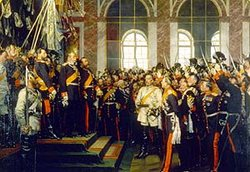 Foundation of modern Germany, Versailles, 1871. Bismarck is in white in the middle.