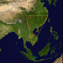 A satellite composite image of Asia