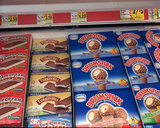 Ice cream treats in a display freezer.