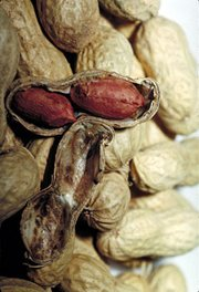 Peanuts, showing legumes, one split open revealing two seeds with their brown seed coats